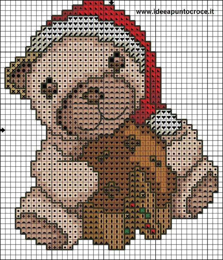 schema orsetto thun natalizio punto croce