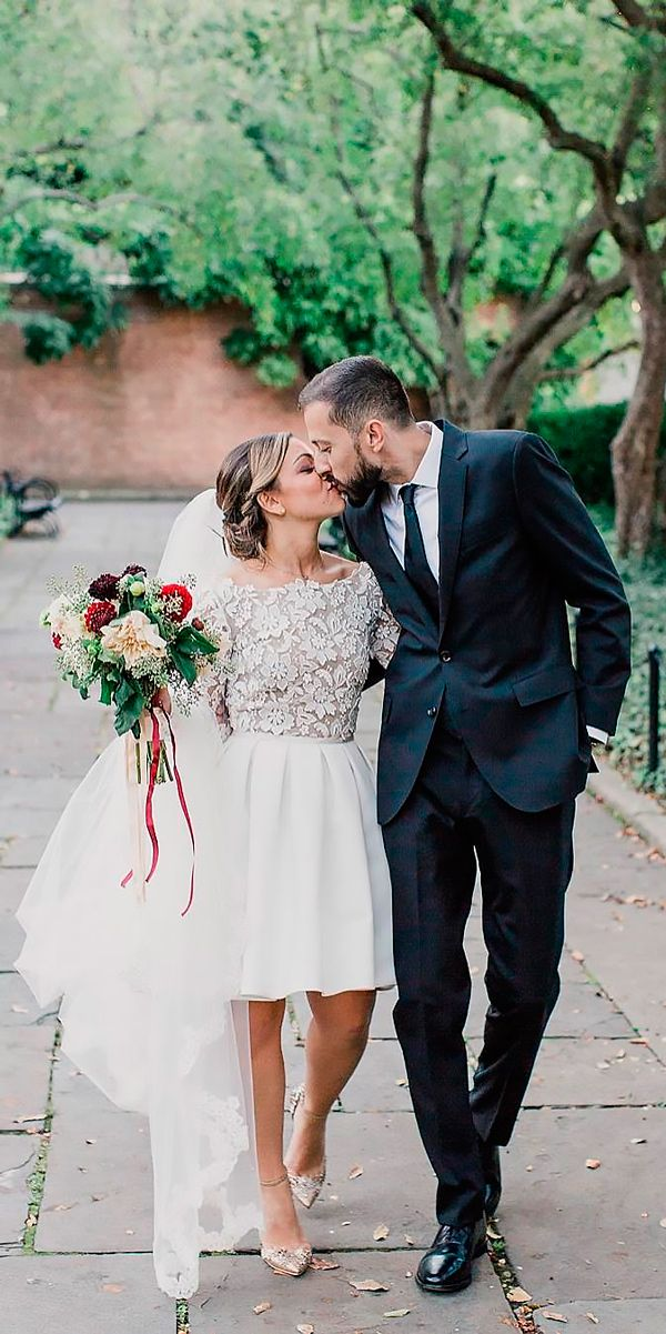 27 Amazing Short Wedding Dresses For Petite Brides ❤ short wedding dresses lace long sleeves rime arodaky ❤ See more: http://www.weddingforward.com/short-wedding-dresses/ #weddingforward #wedding #bride