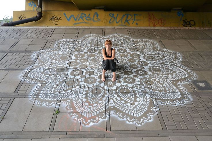 Lace Street Art by NeSpoon via thisiscolossal: Urban jewelry. #Street_Art