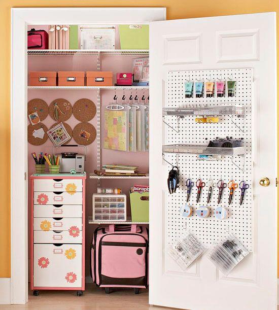 Convert a closet into craft storage