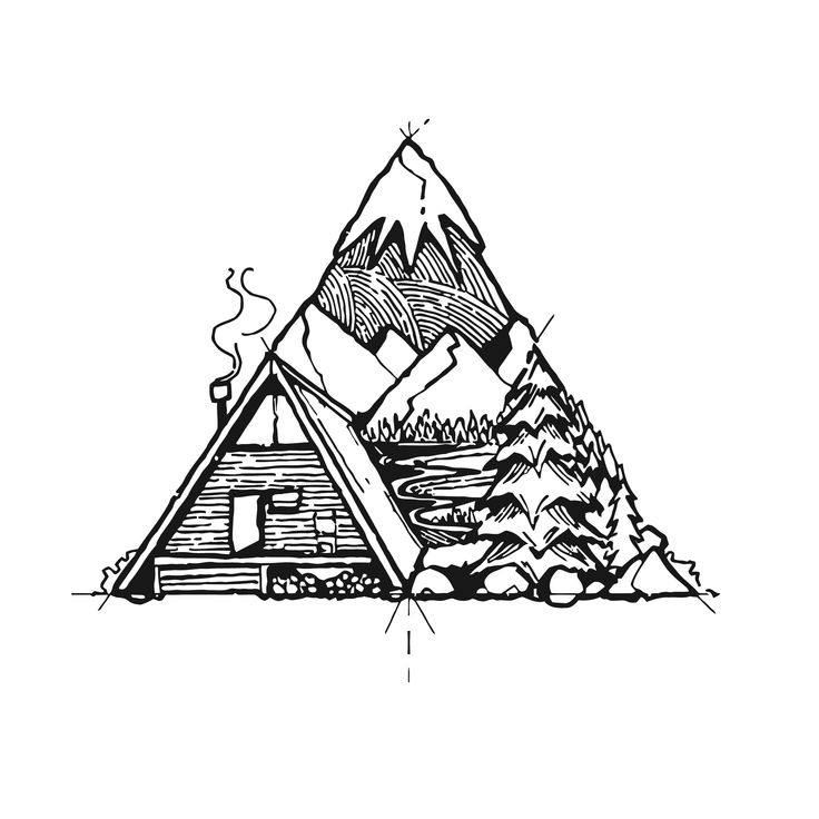 I like the idea of filling a geometric shape as a container but slightly violating the borders.  . . . #draw #drawing #sketch #ink #rustic #cabin #mountains #tree #christmas #snow #snowymountain