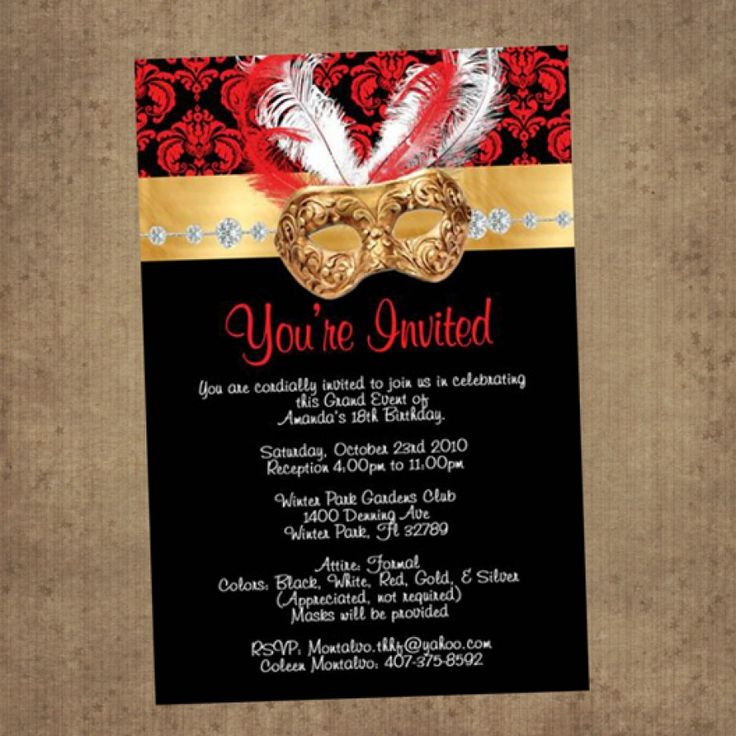 Red Amp Black Masquerade Invitations Nice Pinterest