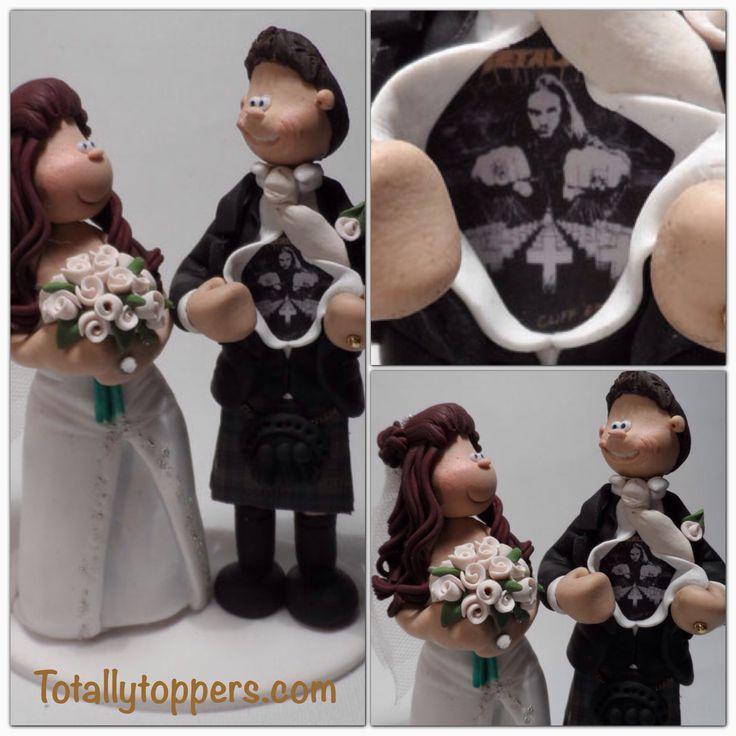 a groom reveals his metallica t shirt under his scottish kilt wedding cake topper