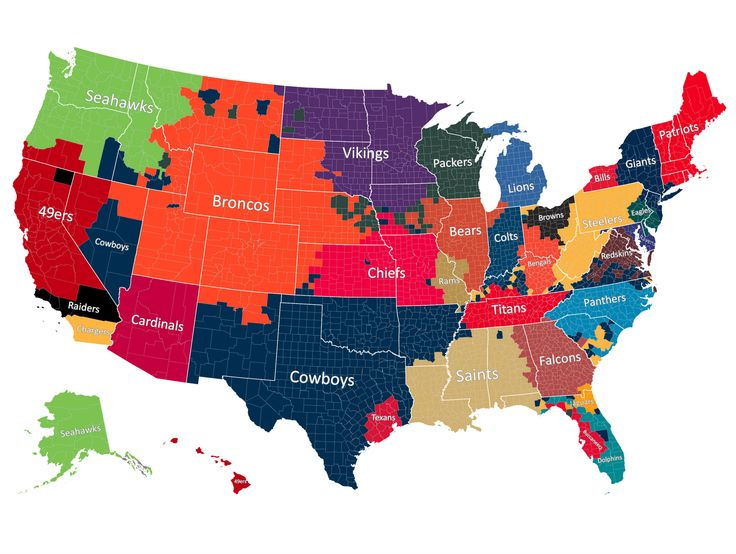 The Most Popular NFL Team by County