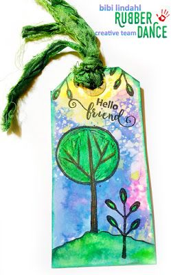 * Rubber Dance Blog *: Mixed Media Tag with Tree Stamp and Distress oxide background