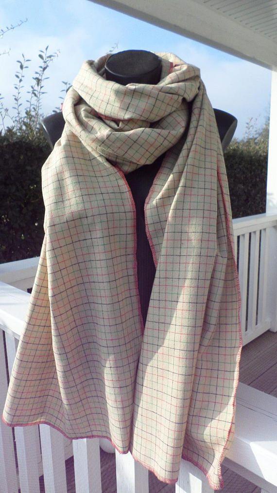 grande écharpe  couverture femme laine beige et rouge lineva