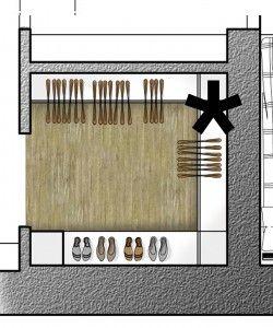 La possibilità di ricavare un vano contenitore all'ingresso della casa permette di utilizzare diversamente il ripostiglio, un vero e proprio locale di 3 mq. In questo caso è destinato a cabina armadio per la camera doppia, spostando la porta e tamponando il vecchio ingresso.