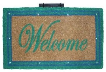"CocoMatsNMore Magic L.E.D Doormat Green Border Welcome - 18"" X 30"" transitional-doormats"