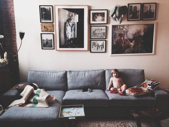Tweedy Chambray Grey Sofa Sectional Living Room