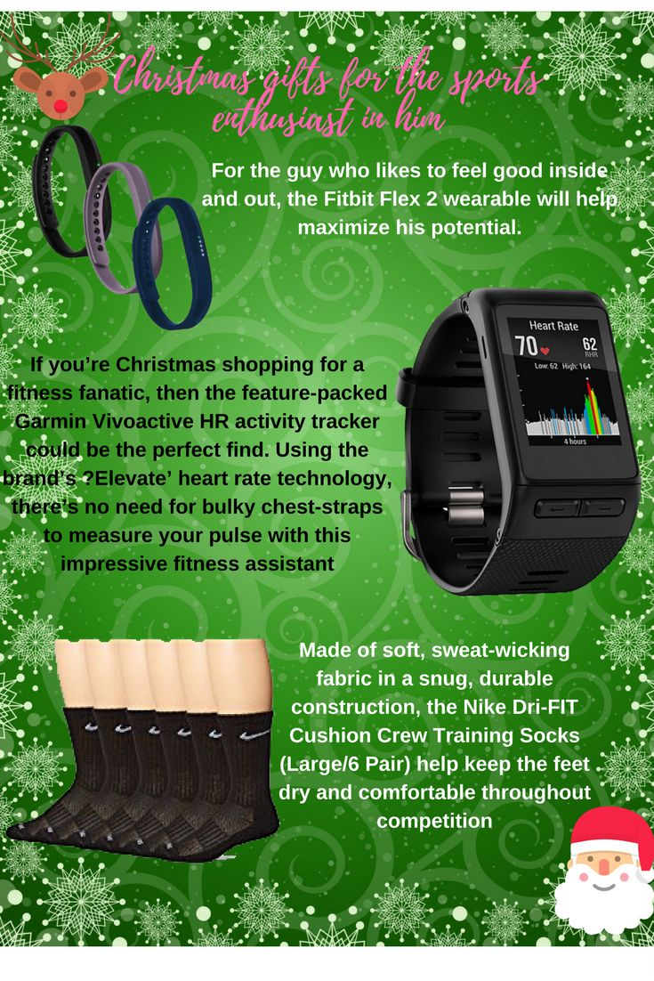 Christmas gifts for the sports enthusiast in him – Fitbit Flex 2 – NIKE Dry Cushion Crew Training Socks (6 Pair) – Garmin Vívoactive HR GPS Smart Wat…