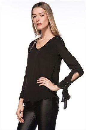Milla by trendyol - Black Sale - Manşet Detaylı Siyah Bluz MLWAW155518 sadece 69,99TL ile Trendyol da