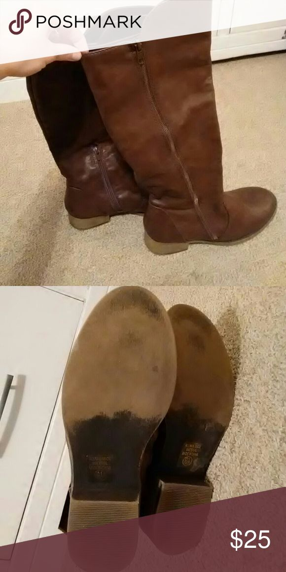 Tall brown leather boots Never worn Shoes