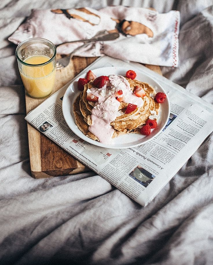 strawberry coconut pancakes breakfast in bed