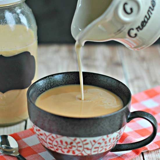 The rich taste of creme brulee in this homemade coffee creamer is perfect paired with any dessert!