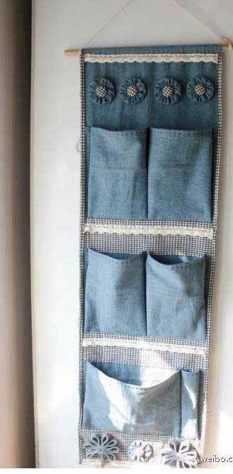 Organizador de tecido jeans.