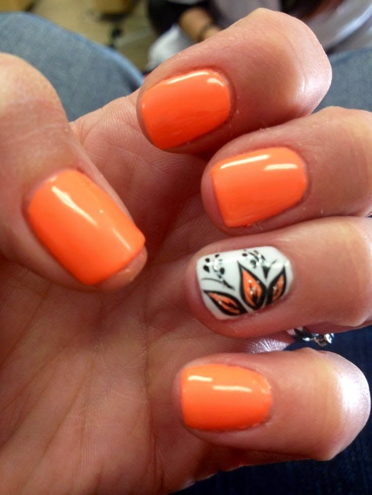 Orange Nails With Chevron And Glitter Nail: 25+ Gorgeous Summer French Nails Ideas On Pinterest