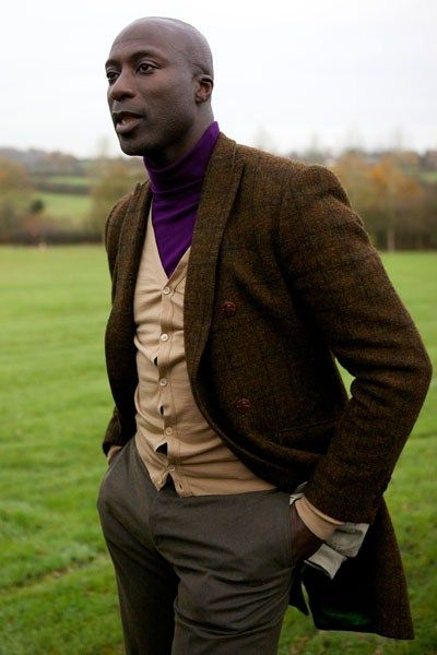 "heinfienbrot: "" Ozwald Boateng in a double breasted Tweed coat and colourful roll neck. """