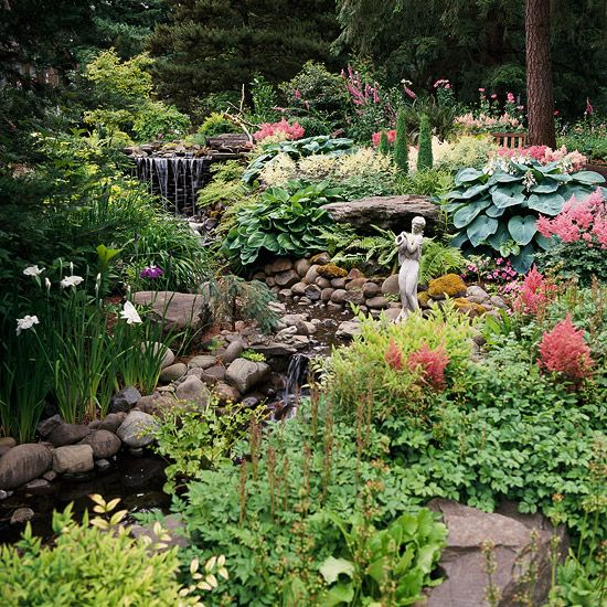 """Build a Babbling Brook,"" from a good BHG article on dealing with slopes.Dry Creek, The Ponds, Water Features, Koi Ponds, Side Yards, Front Yards, Plants Ideas, Design Tips, Landscapes Design"