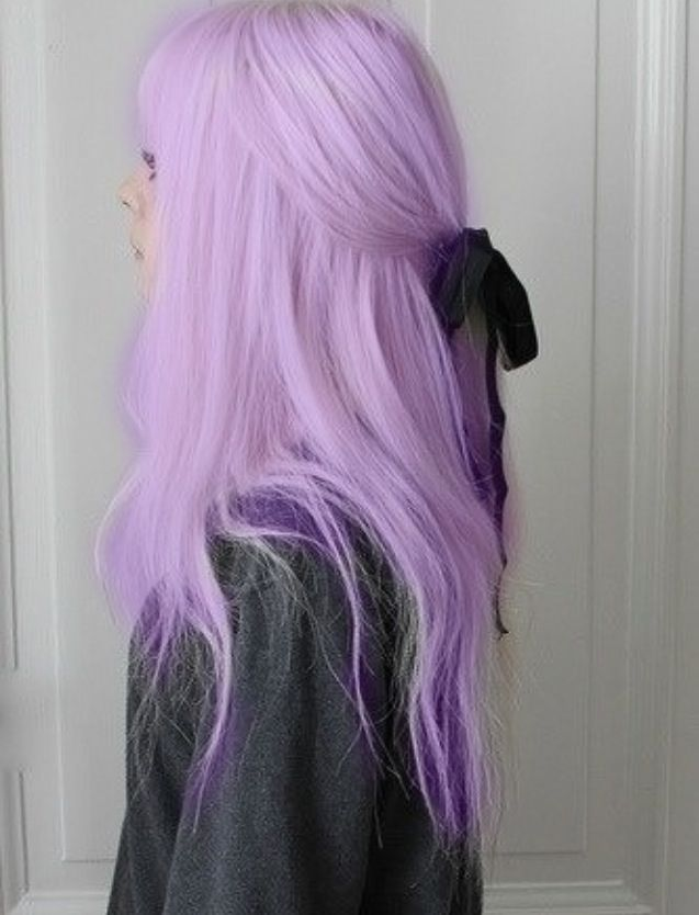 Pastel purple hair w/ black bow