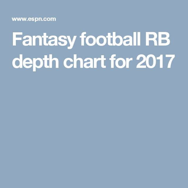 Fantasy football RB depth chart for 2017