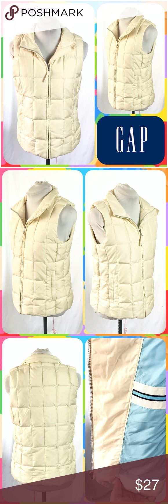 "GAP Cream Down-Filled Quilted Puffer Vest Size S Down-filled quilted puffer vest in a cream color with a cool baby blue inner lining! Horizontal zip pockets on the outside and an additional zip pocket at the chest on the inside. Size S or 4/6. Measures 19"" across the chest and 24"" in length. Perfect for ski weather! GAP Jackets & Coats Vests"