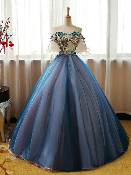 Elegant Off Shoulder Appliqued Ball Gown,A-Line Blue Organza Long Prom Dresses Online,VPPD197