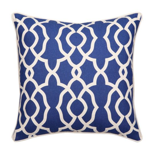 Add a pop of color to a room with this pretty throw pillow! The royal blue and white geomet ...