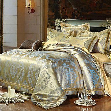 lyx jacquard silke bomull kung drottning storlek 4st sängkläder som örngott täcke coverhome textilier täcke täcka platt ark – SEK Kr. 796