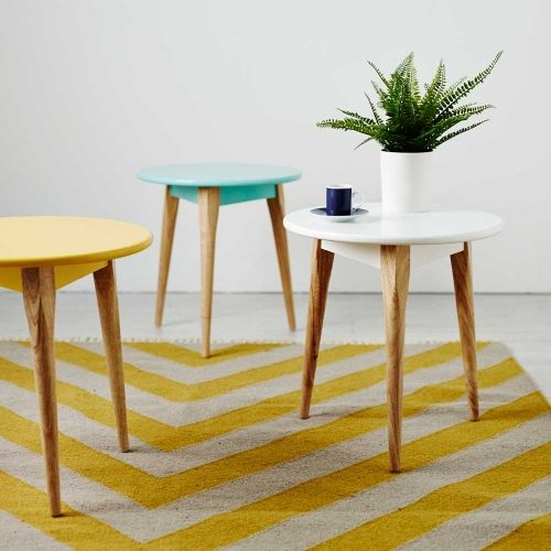 Add a pop of Scandinavian colour to your home with the Home Republic Tripod Side Table. Stylish timber legs with bright, powder coated top completes this modern table for your home.