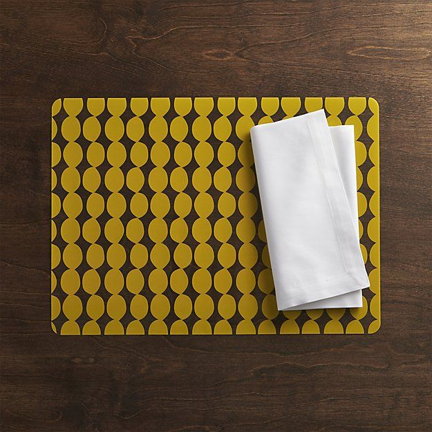 Dots Yellow Placemat and Fete White Napkin | Crate and Barrel