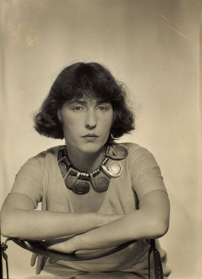 Louisa Calder, Paris 1931 -by Man Ray (wearing an Alexander Calder necklace)