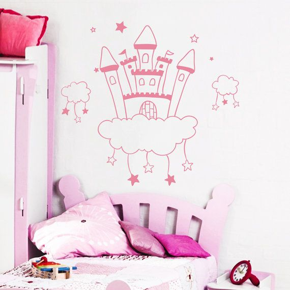 Wall Decal Castle Princess Kingdom Fairy Clouds in Stars House Queen's Decals For Kids Nursery Bedroom Children Baby Room Home Decor 3920