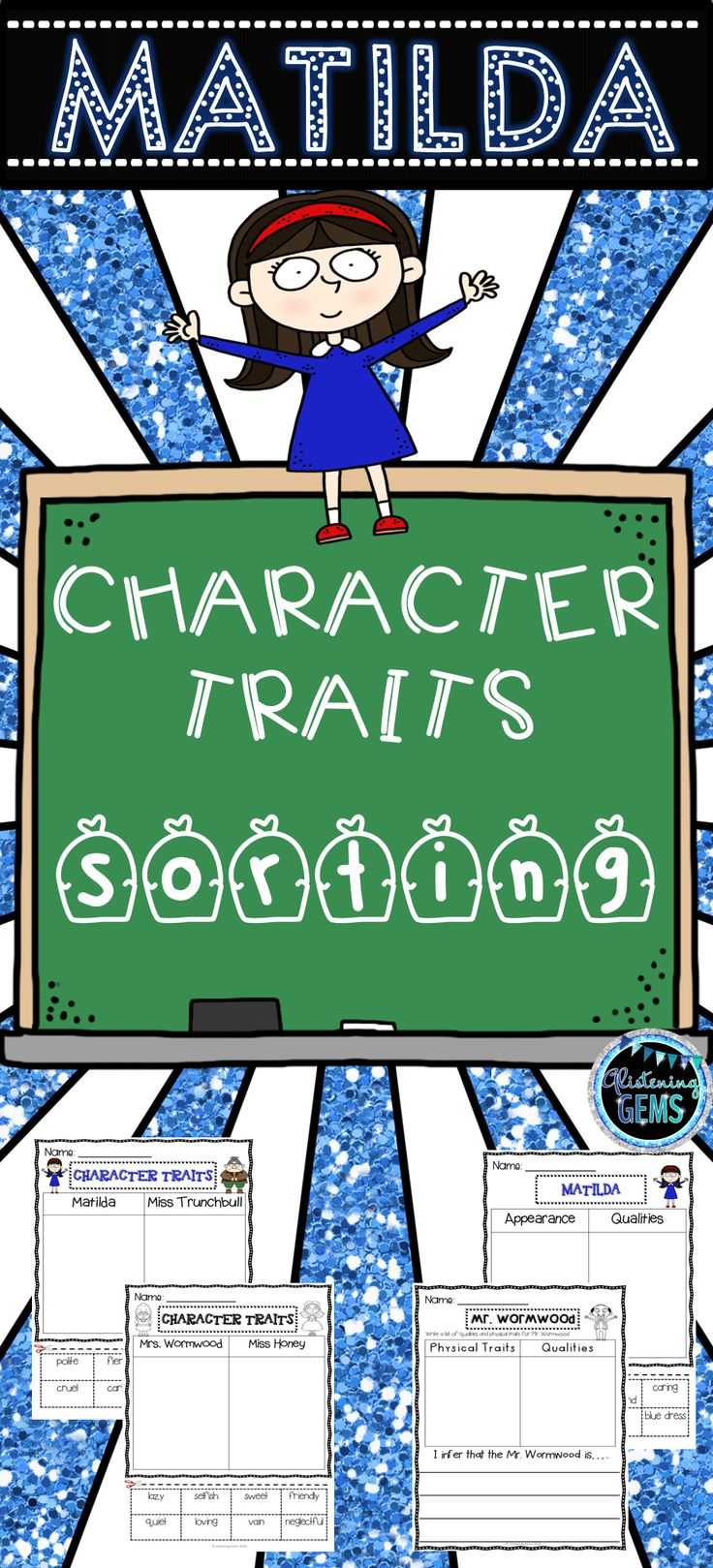 Matilda Character Trait Sorting Activities includes no prep printable to help your children identify character traits.