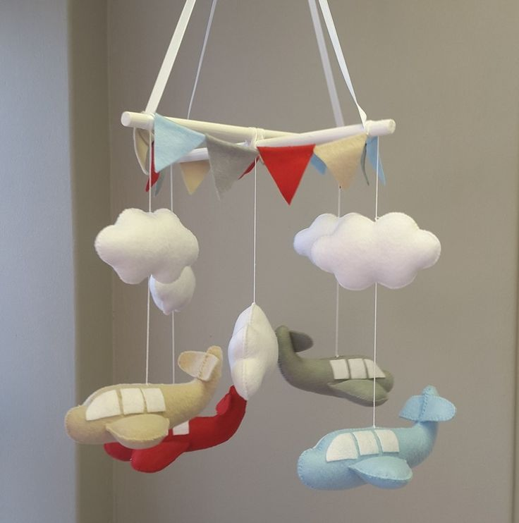 Our #BabyMobile in #blue, #red, #grey and #beige is perfect for any #BabyBoy's #TravelTheme nursery!   #BabyBedding #BabyLinen