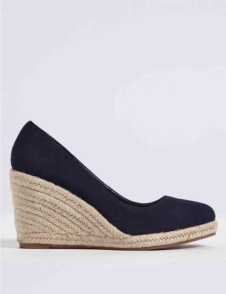 7a49a42f3ba Suede Wedge Heel Almond Toe Espadrilles | Fashion | Heeled ...