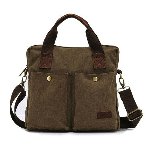 Estarer Messenger BAG Herren Umhängetasche A4-Hochformat Canvas Tasche (braun)