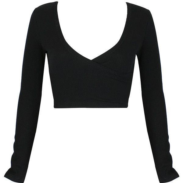 Black Plunge Neck Long Sleeve Wrap Crop Top ($22) ❤ liked on Polyvore featuring tops, shirts, crop tops, black, plunging neckline tops, long sleeve shirts, cut-out crop tops, plunge-neck tops and wrap shirt