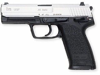 Heckler & Koch USP with two-tone finish - .45 ACP. Hope to get this soon, though have to check that it's not got tactical rails (looks like it in the pic) those are illegal in CA. :(
