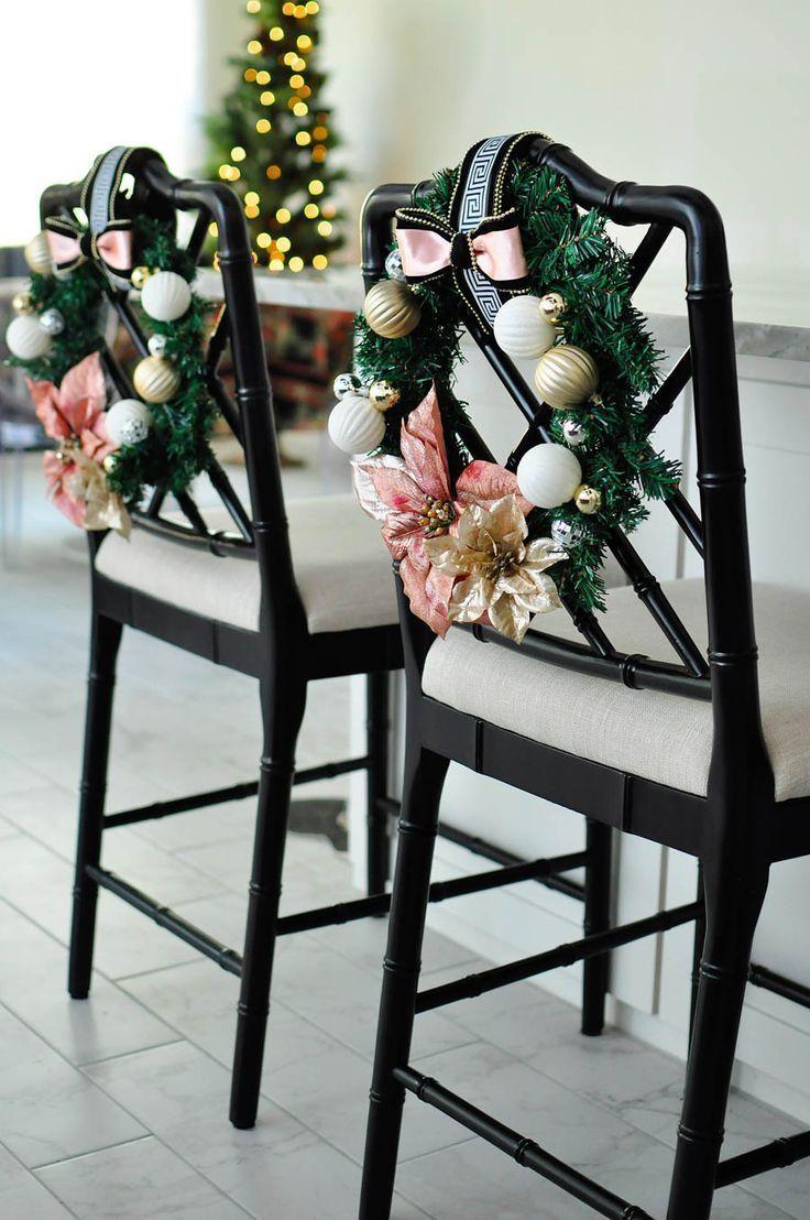 Diy Blush Gold White Greek Key Chair Wreaths Monica Wants It Gold Christmas Decorations Rose Gold Christmas Rose Gold Christmas Decorations