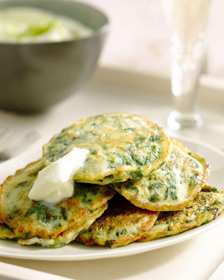Aardappel/spinazie pannekoekjes met limoenroom