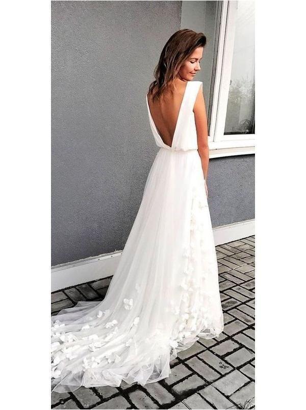 V back Boho Chiffon Beach Wedding Dress, A-line Bridal Gown,GDC1225