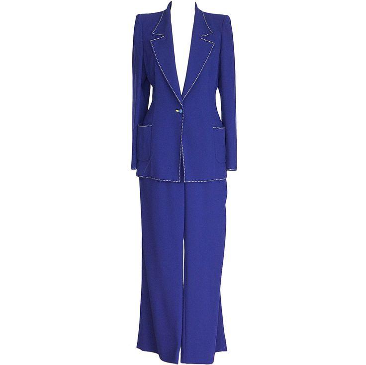 With citron yellow... 1stdibs.com | EMANUEL UNGARO Vibrant Electric blue pant Suit fabulous buttons 12 fits 10