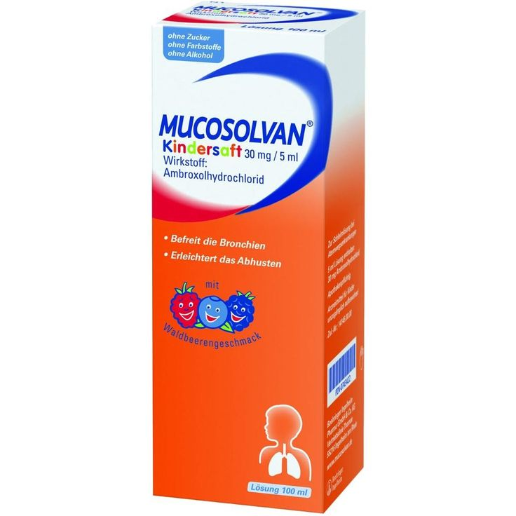 MUCOSOLVAN Hustenlöser+Schleimlöser Kindersaft 30 mg-5 ml:   Packungsinhalt: 100 ml Lösung zum Einnehmen PZN: 02807988 Hersteller:…