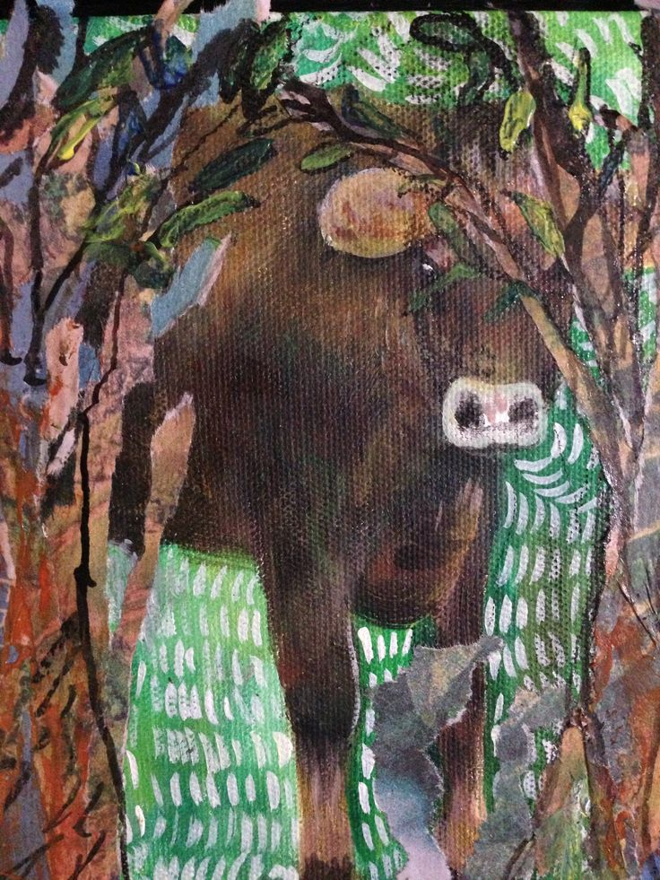 Illustration Friday - hidden. 'The hidden cow', by Xanga Connelley painted in mixed media, acrylic paint, newspaper and black ink