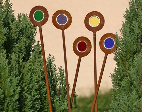garden stakes: Garden Art, Kaleidoscopes Gardens, Metals Gardens, Garden Stakes, Gardens Stakes, Gardens Art