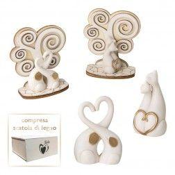 Bomboniere Matrimonio Coppie Gatti e elefanti moderni stilizzati fatti a mano in italia