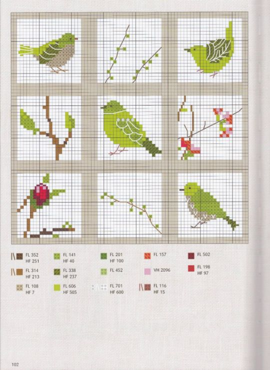 Cross Stitching Birds Spring Green Kreuzstich Vögel Vorlage Frühling Grün