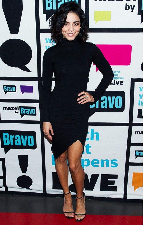 Vanessa Hudgens in an asymmetric bodycon black dress and Saint Laurent sandals
