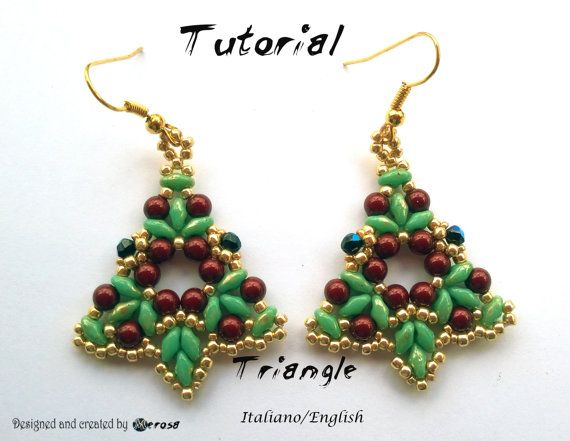 """Earrings Triangle"""" PDF Beading  The tutorial of  Earrings Triangle"""" consists of a PDF file of 12 pages including the cover and the list of"""