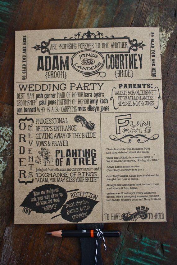 Digital Rustic Wedding Fan Program with Word by southernbellavita, $40.00